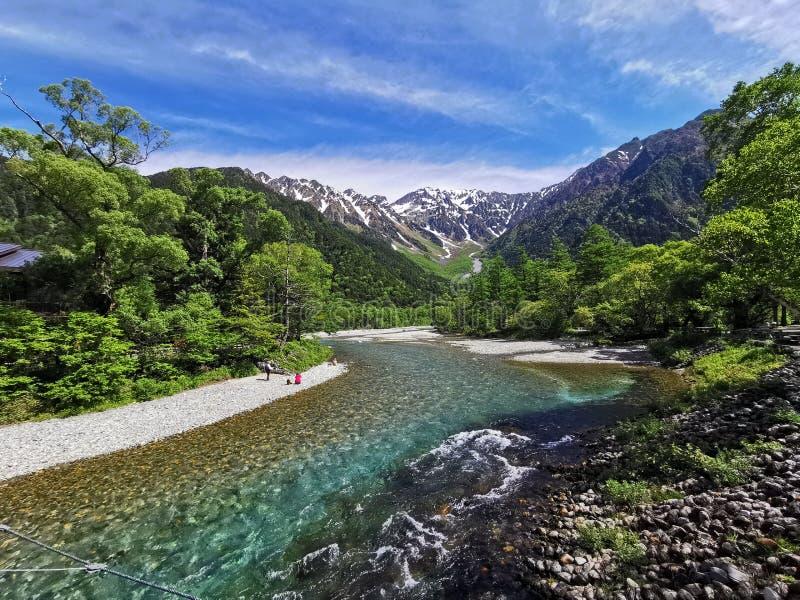 Montagne et forêt de rivière images libres de droits