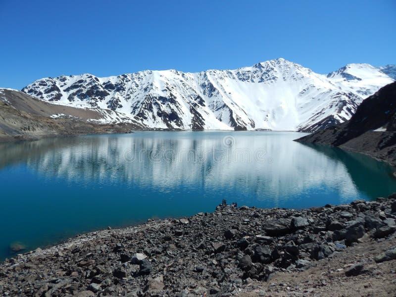 Montagne et lac andins image libre de droits