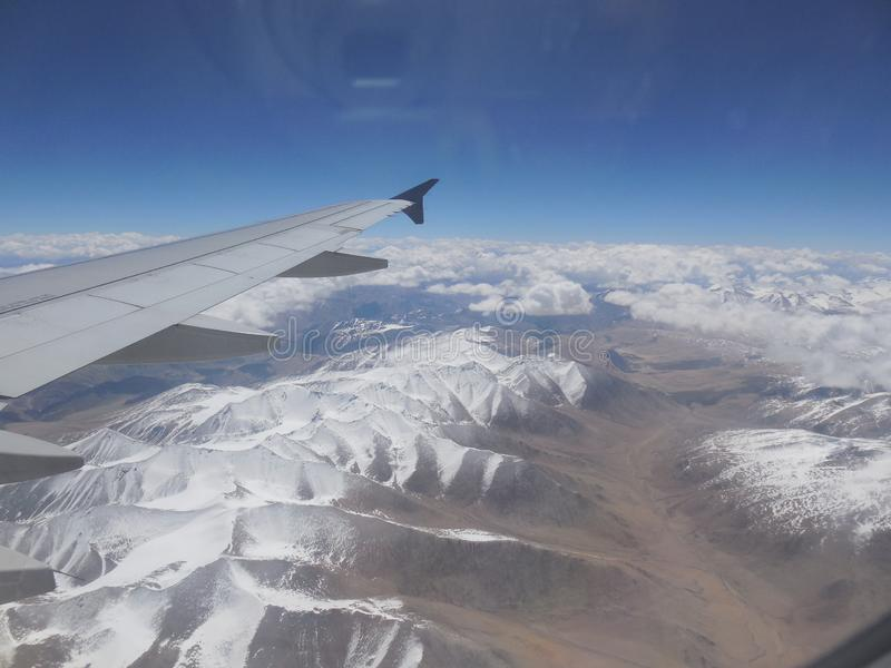 Montagne J&K, vue de Leh de l'Inde d'avion photo stock