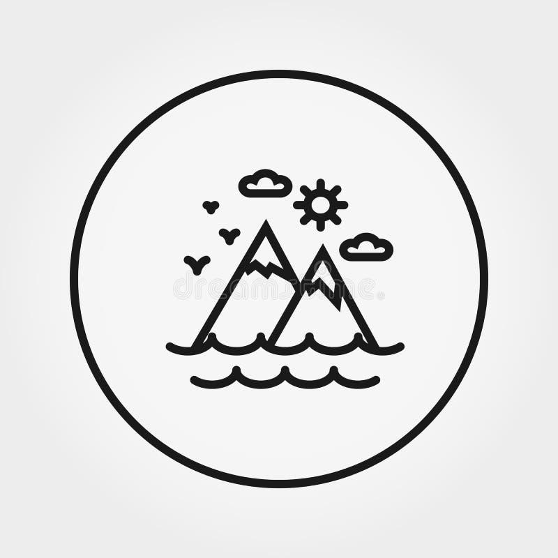 Montagne, mare, sole, nuvole icona Vettore Linea sottile editabile illustrazione vettoriale