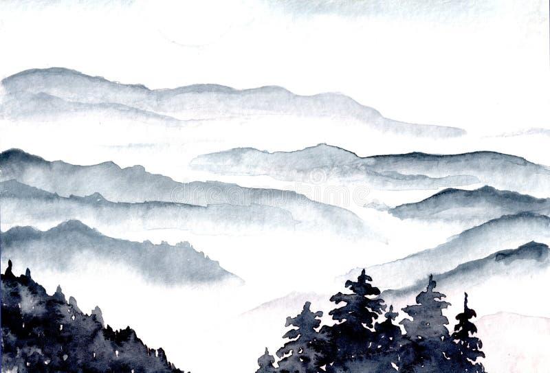 Montagne nebbiose blu del paesaggio dell'acquerello royalty illustrazione gratis