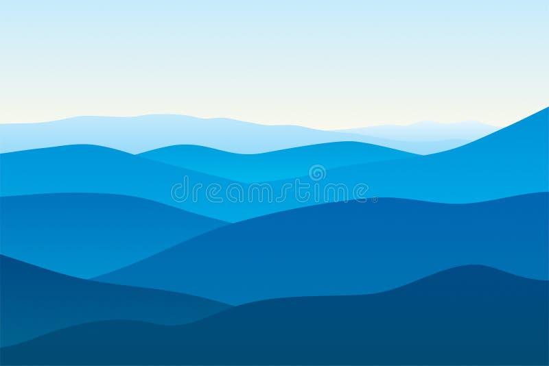 Montagne nella nebbia illustrazione vettoriale