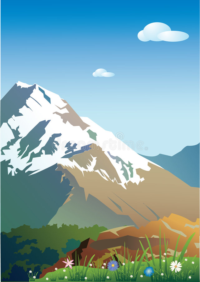 Montagne in neve. royalty illustrazione gratis