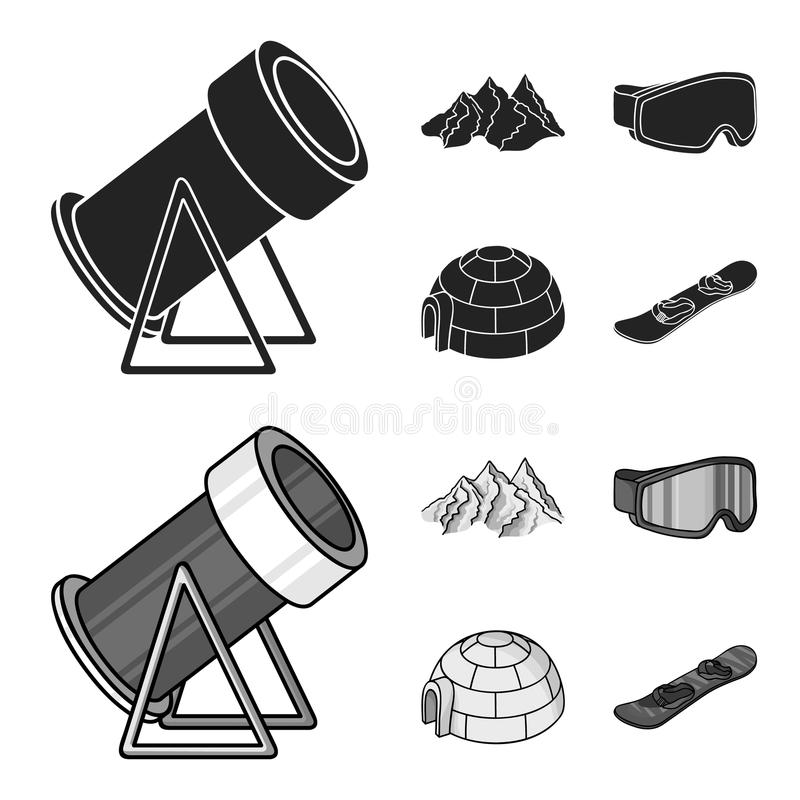 Montagne, occhiali di protezione, un iglù, uno snowboard Icone stabilite nel nero, azione della raccolta della stazione sciistica illustrazione di stock
