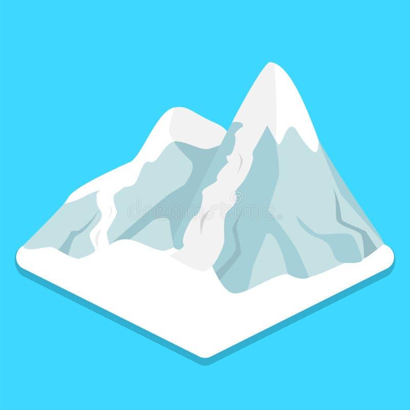 Montagne piane isometriche della neve di inverno di concetto 3D illustrazione della stazione sciistica illustrazione di stock