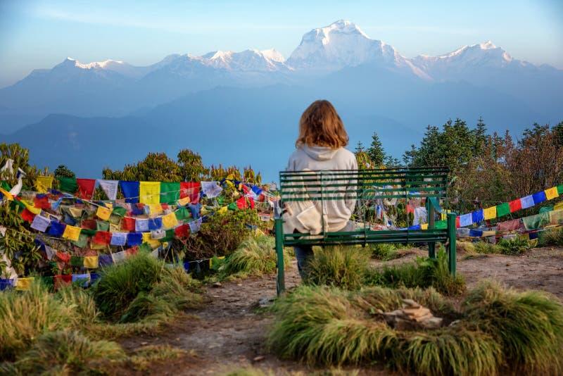 Montagne Poon Hill, Népal de l'Himalaya images libres de droits