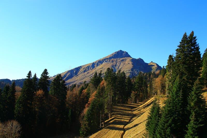 Montagne in Rosa Khutor, viaggio alle cascate di Mendelikh fotografia stock libera da diritti