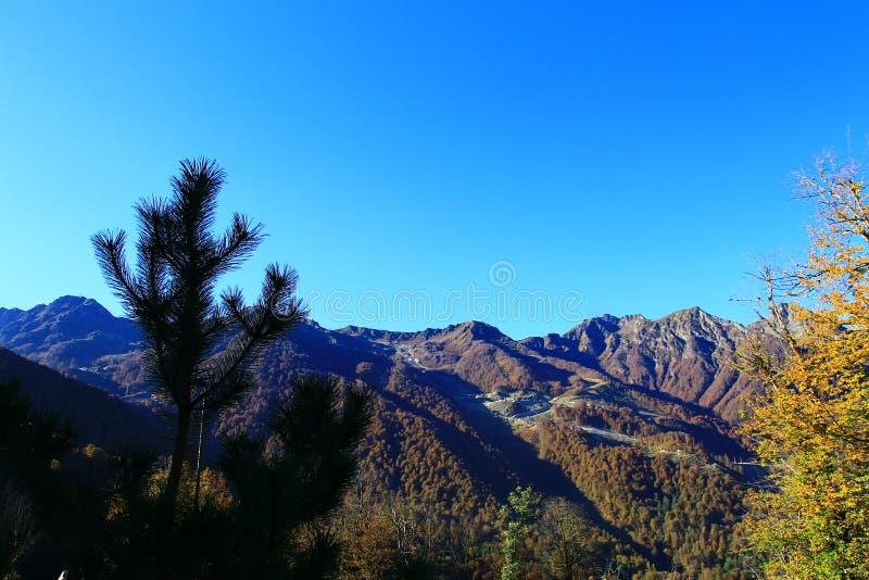 Montagne in Rosa Khutor, viaggio alle cascate di Mendelikh immagini stock libere da diritti