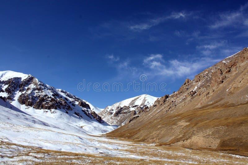 Montagne selvagge della neve al Kirghizistan fotografia stock