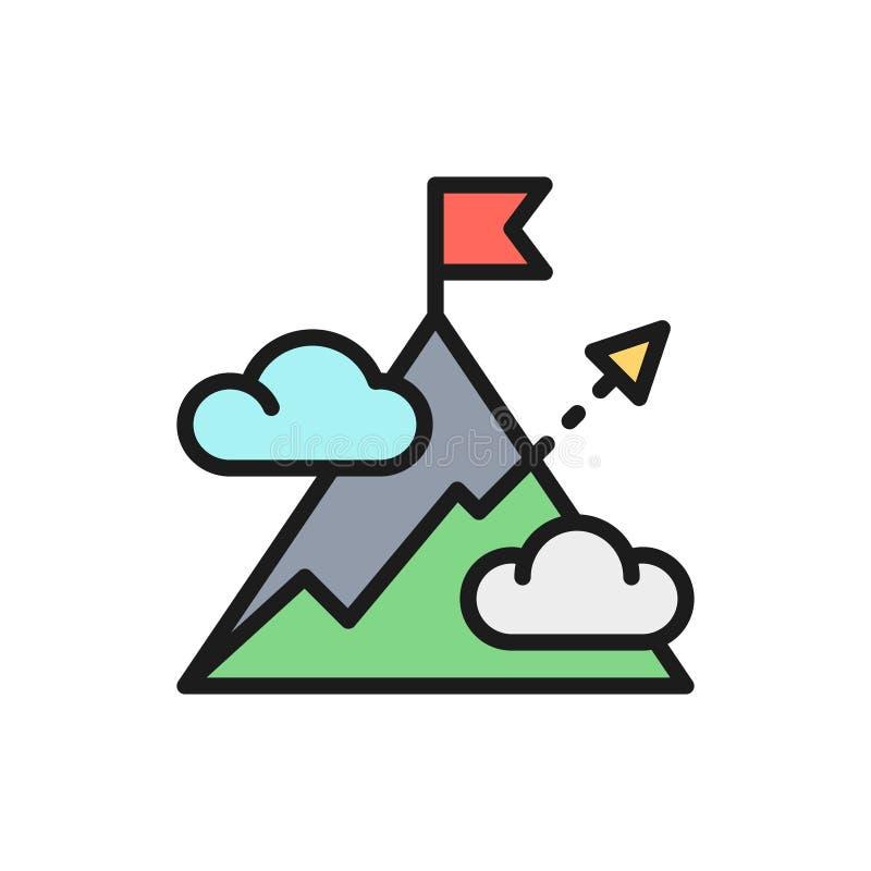 Montagne vectorielle avec flèche, montage, colline, cible, icône de ligne de couleur plat de but illustration stock