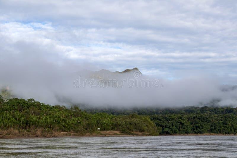 Montagne verdi della foresta pluviale in nuvole, bacino del Rio delle Amazzoni, Sudamerica fotografia stock libera da diritti