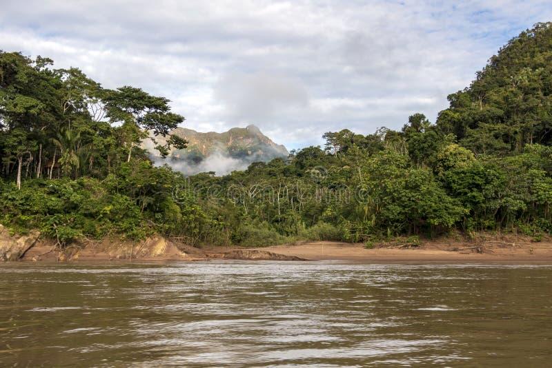 Montagne verdi della foresta pluviale in nuvole, bacino del Rio delle Amazzoni, Sudamerica fotografie stock libere da diritti