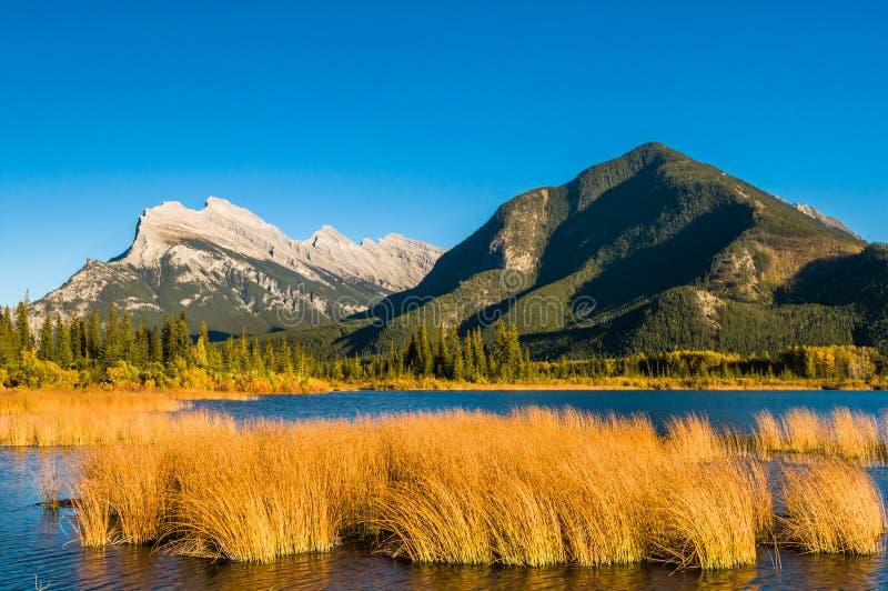 Montagne vermeille de soufre d'Autumn Rundle de lac image libre de droits