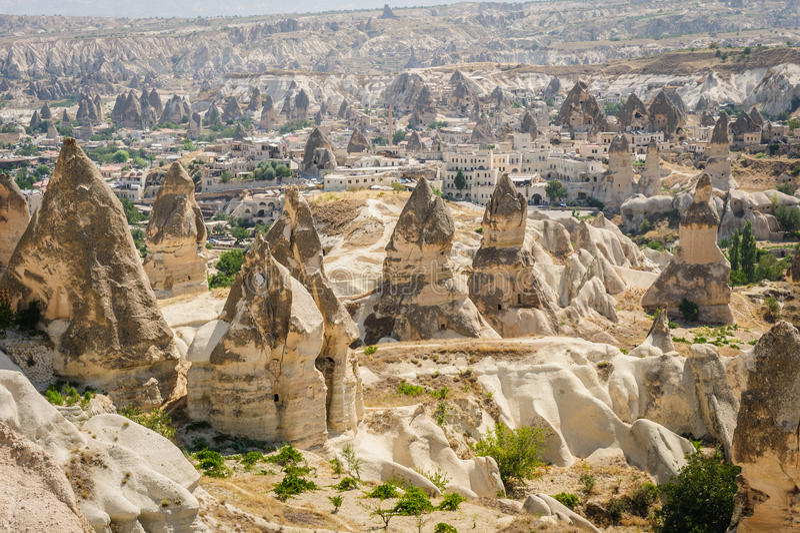 Montagne vicino a Goreme, Cappadocia, Turchia fotografia stock libera da diritti