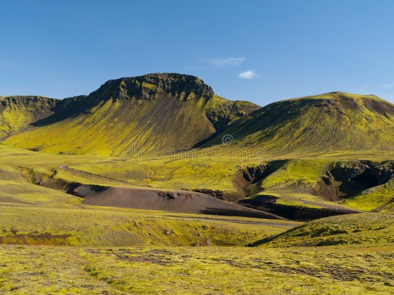Montagne vulcaniche coperte di muschio immagine stock