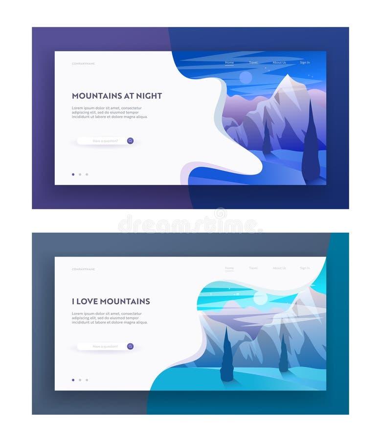 Montagnes à l'ensemble de page d'atterrissage de site Web de nuit et de matin, beau paysage des montagnes, crête tranquille de co illustration stock