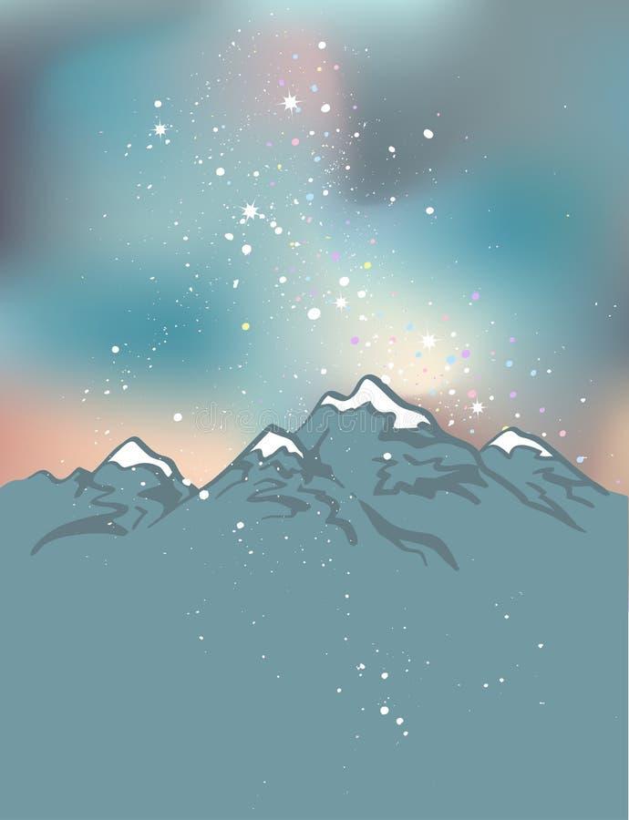Montagnes à la nuit Fond de l'espace de vecteur illustration libre de droits