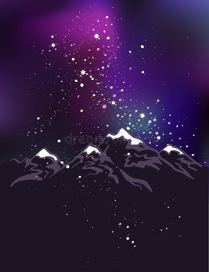 Montagnes au fond de l'espace de vecteur de nuit illustration stock