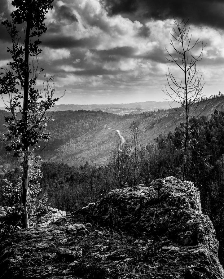montagnes avec un chemin éloigné allant la colline photographie stock libre de droits