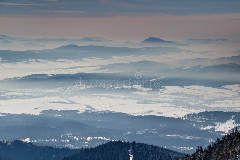 Montagnes carpathiennes, bois et vallées en hiver Slovaquie floue photographie stock