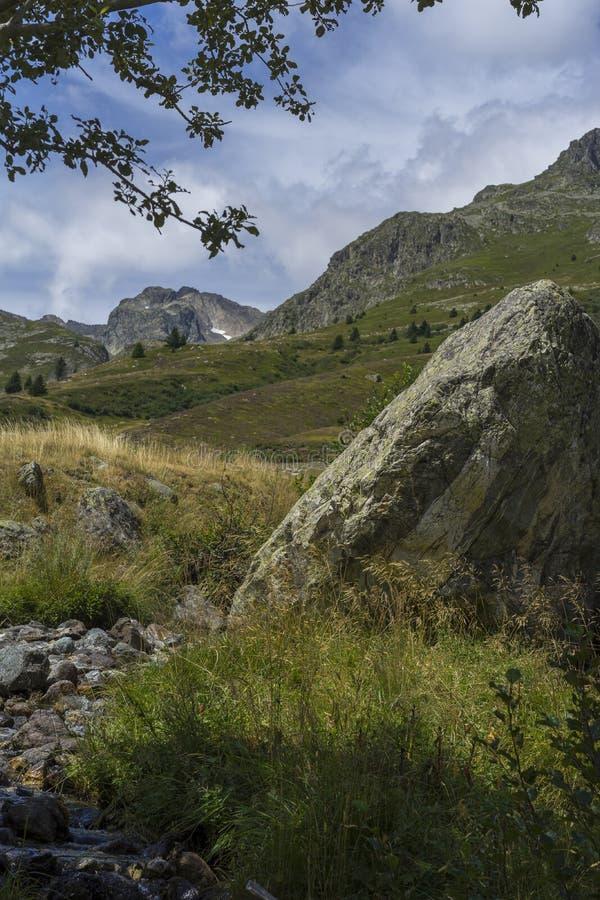 Montagnes, champs et torrents images stock