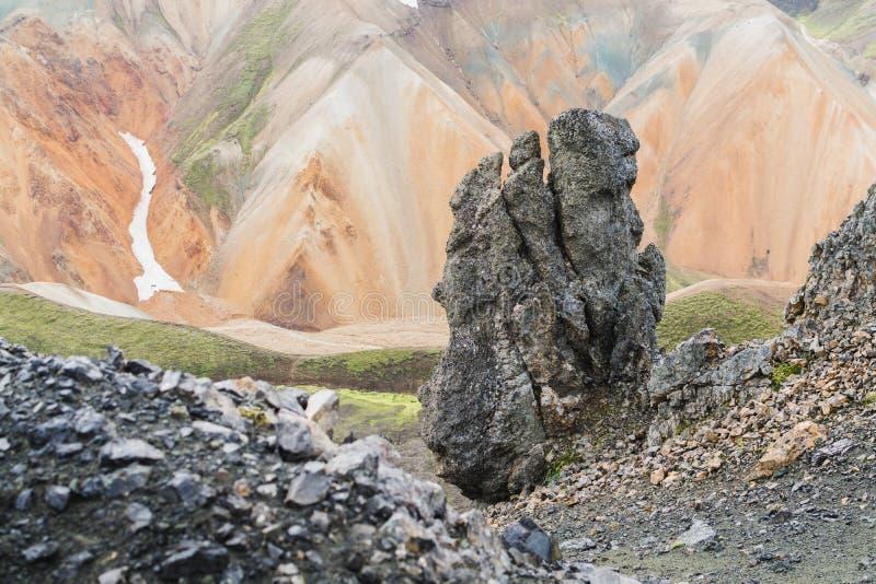Montagnes colorées en parc national de Landmannalaugar, Islande images libres de droits