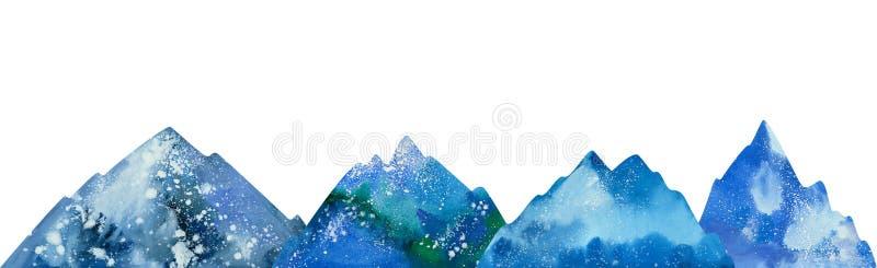 Montagnes couronnées de neige d'aquarelle
