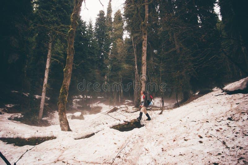 Montagnes d'hiver de voyageurs avec un sac à dos et des bâtons lifestyle image libre de droits