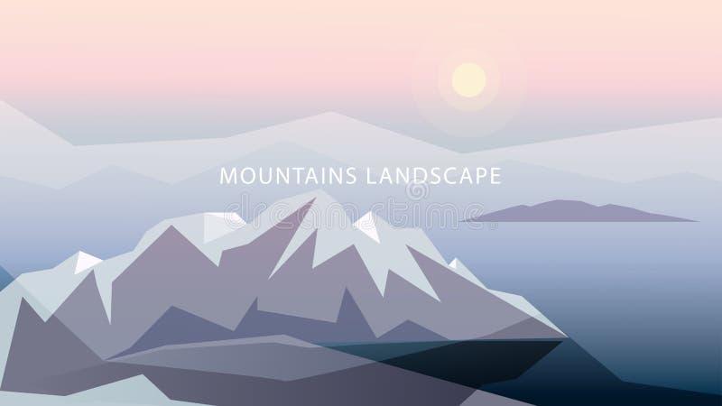 Montagnes dans l'illustration douce de tons Montagnes, le soleil, océan, nuages, dans des couleurs grises, bleues et roses illustration libre de droits