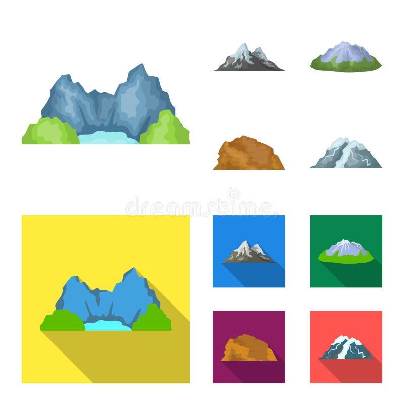 Montagnes dans le désert, une crête neigeuse, une île avec un glacier, une montagne couronnée de neige Différentes montagnes régl illustration de vecteur