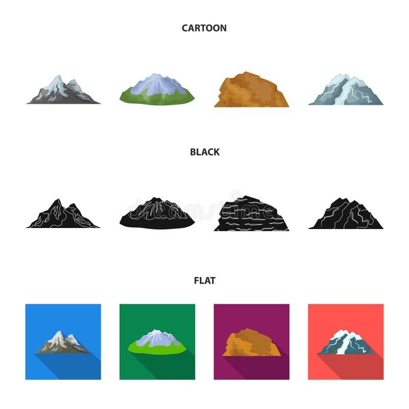 Montagnes dans le désert, une crête neigeuse, une île avec un glacier, une montagne couronnée de neige Différentes montagnes régl illustration libre de droits