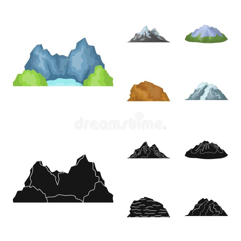 Montagnes dans le désert, une crête neigeuse, une île avec un glacier, une montagne couronnée de neige Différentes montagnes régl illustration stock