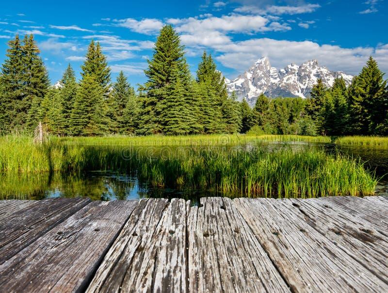 Montagnes dans le parc national de Grand Teton avec réflexion sur la rivière Snake photos stock