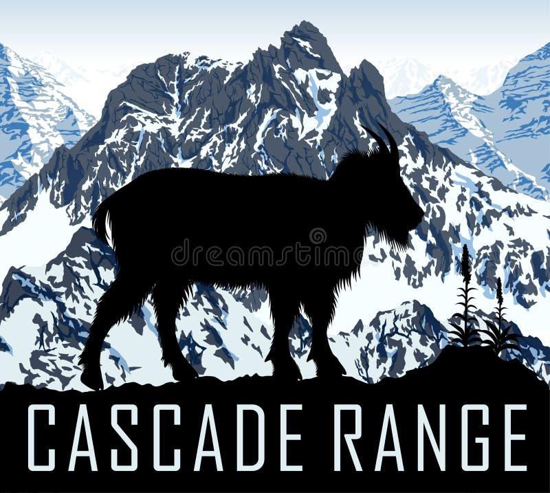 Montagnes de chaîne de cascade de vecteur avec la chèvre de montagne illustration de vecteur
