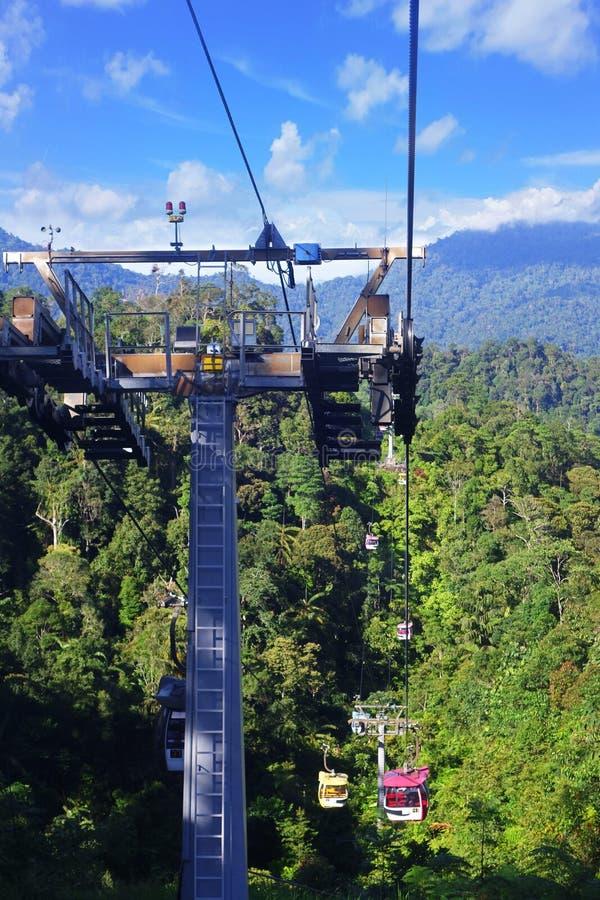 MONTAGNES DE GENTING, MALAISIE - 21 DÉCEMBRE : Les touristes voyagent sur le funiculaire de Genting Skyway C'est un ascenseur de  photos libres de droits