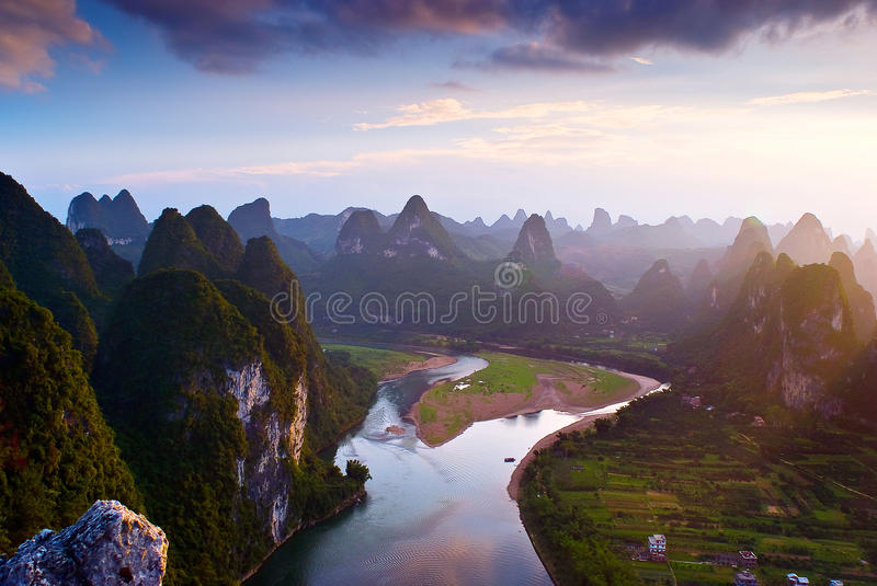 Montagnes de Guilin images libres de droits
