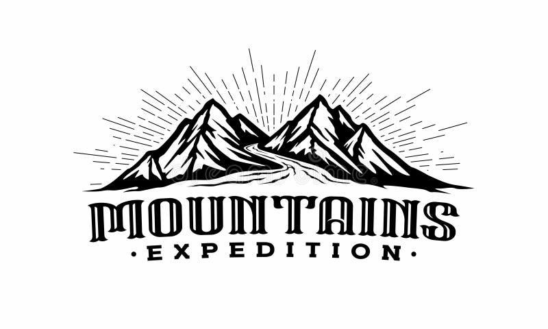 Montagnes de jumeaux avec le calibre de logo de rivière illustration stock