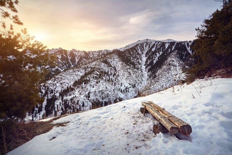 montagnes de kazakhstan neigeuses image libre de droits