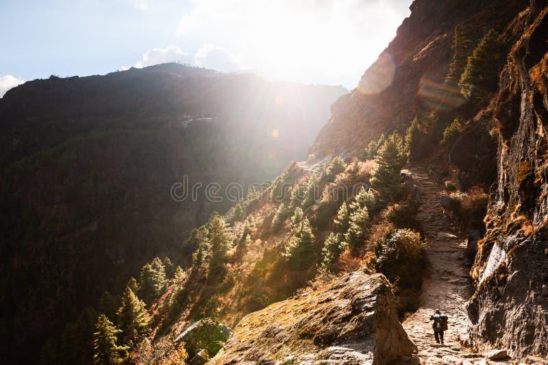 Montagnes de l'Himalaya au coucher du soleil, N?pal Le portier porte la cargaison sur le chemin au camp de base d'Everest photographie stock libre de droits