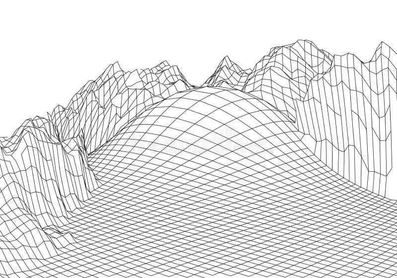 Montagnes de paysage de Wireframe 3D Cartographie 3D futuriste Fil de paysage de Wireframe Grille de cyberespace illustration stock