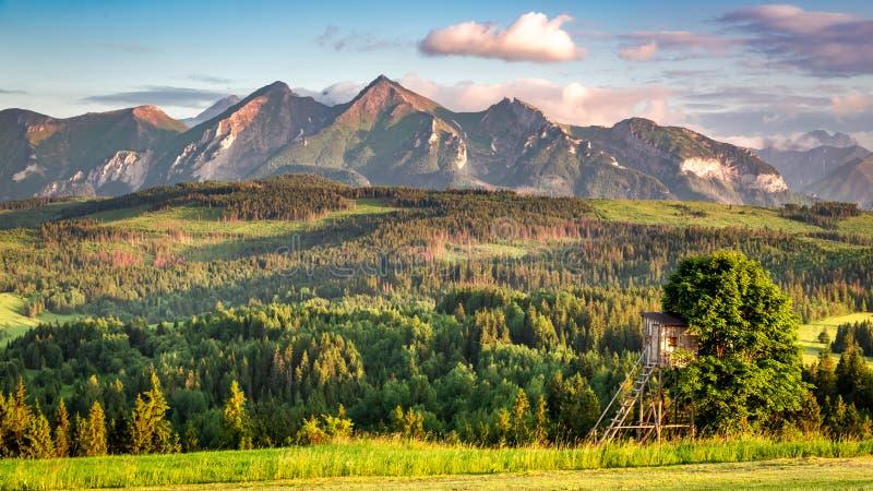 Montagnes de stupéfaction Tatra au coucher du soleil en été photo stock