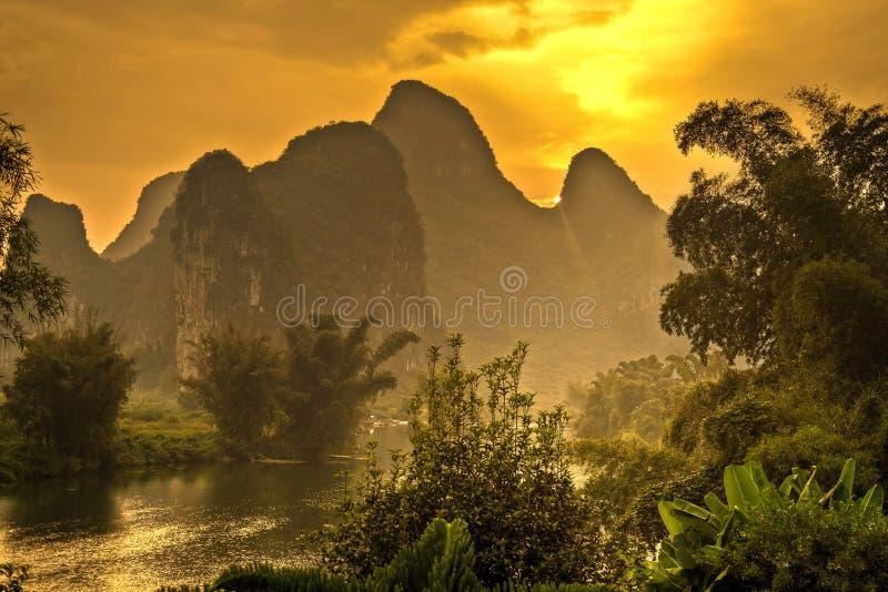 Montagnes de Yangshuo, Chine photos libres de droits