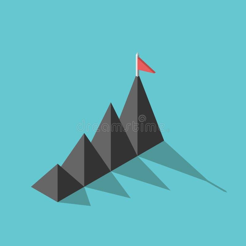 Montagnes, drapeau, concept de but illustration de vecteur