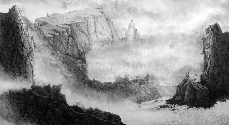 Montagnes et cascade chinoises illustration de vecteur
