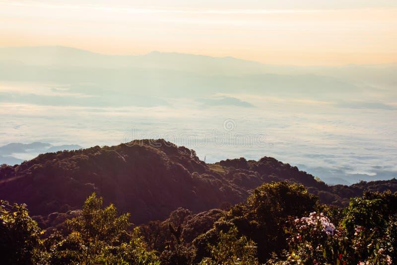 Montagnes et collines pendant le matin photos libres de droits