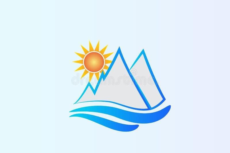 Montagnes et soleil bleus de logo illustration stock