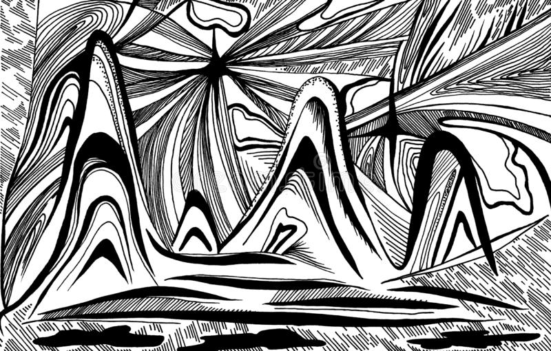 Montagnes et vagues d'abstraction illustration de vecteur