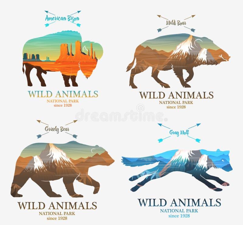 Montagnes et verrat, ours, renard, animal sauvage de silhouette de buffle Exposition multiple ou double vieil label ou insigne Vo illustration stock