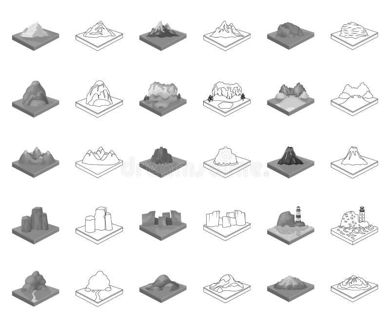 Montagnes, monochrome massif, icônes d'ensemble dans la collection réglée pour la conception La surface du vecteur de la terre is illustration stock