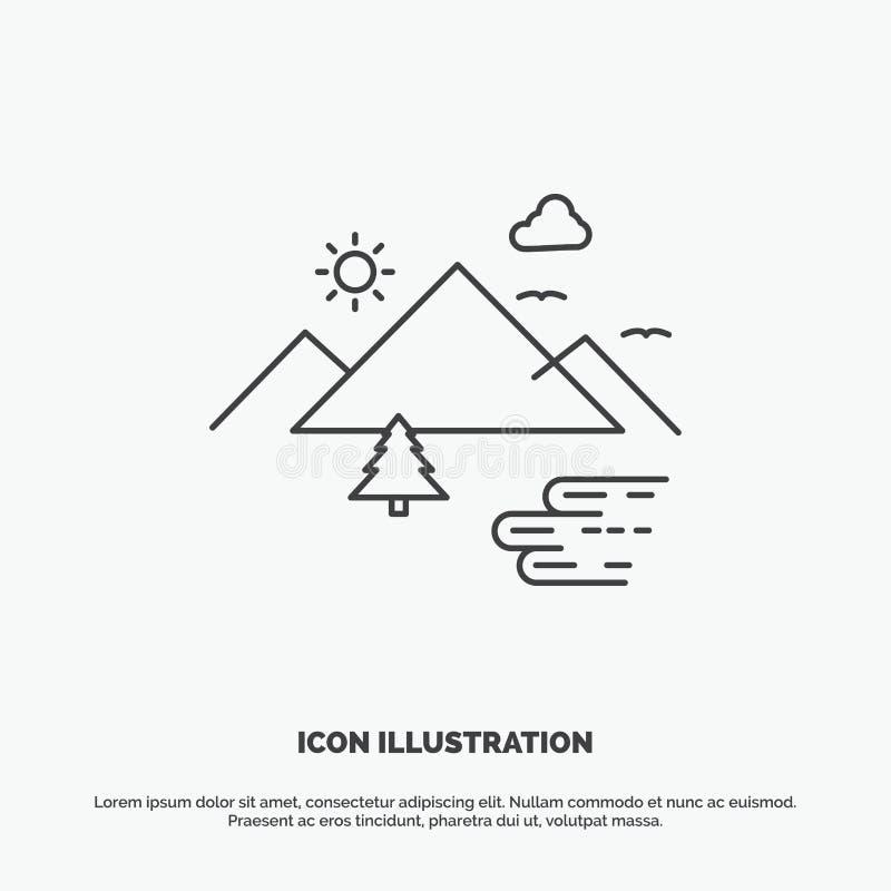 Montagnes, nature, extérieure, nuages, icône de Sun r illustration libre de droits